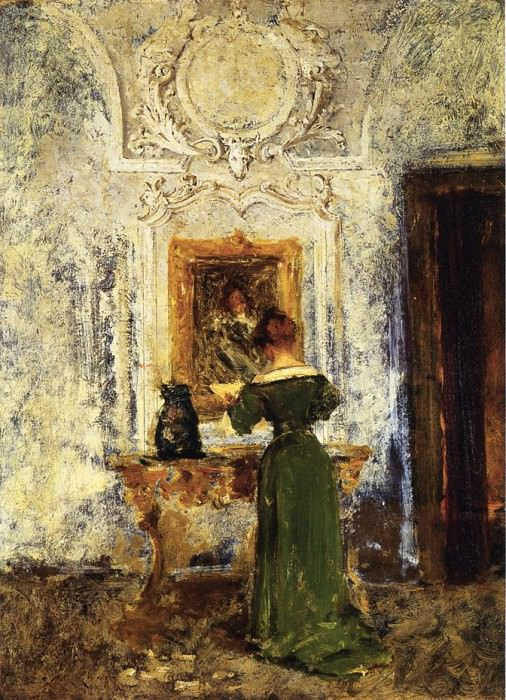 Woman in Green aka Lady in Green. William Merritt Chase