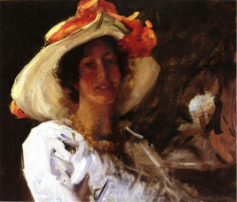 Portrait of Clara Stephens Wearing a Hat with an Orange Ribbon. William Merritt Chase