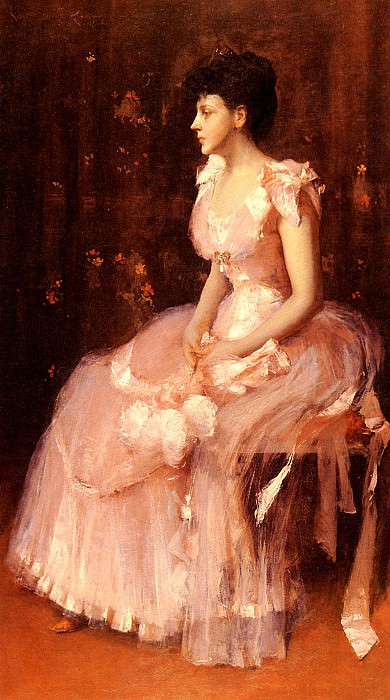 Portrait Of A Lady In Pink. William Merritt Chase