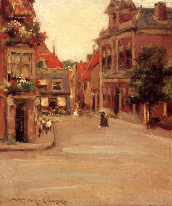 The Red Roofs of Haarlem aka A Street in Holland. William Merritt Chase
