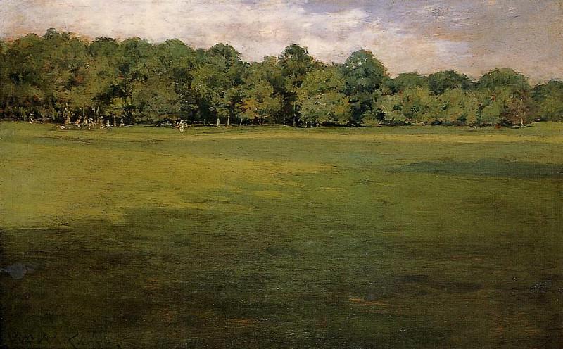 Ландшафтный парк или Лужайка для крокета в парке. Уильям Меррит Чейз