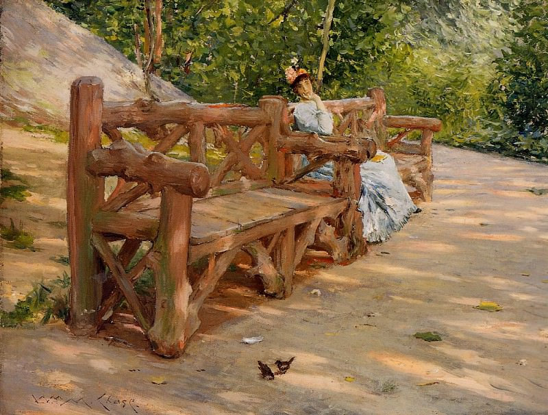 Park Bench aka An Idle Hour in the Park Central Park. William Merritt Chase