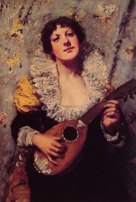 Женщина с мандолиной. Уильям Меррит Чейз