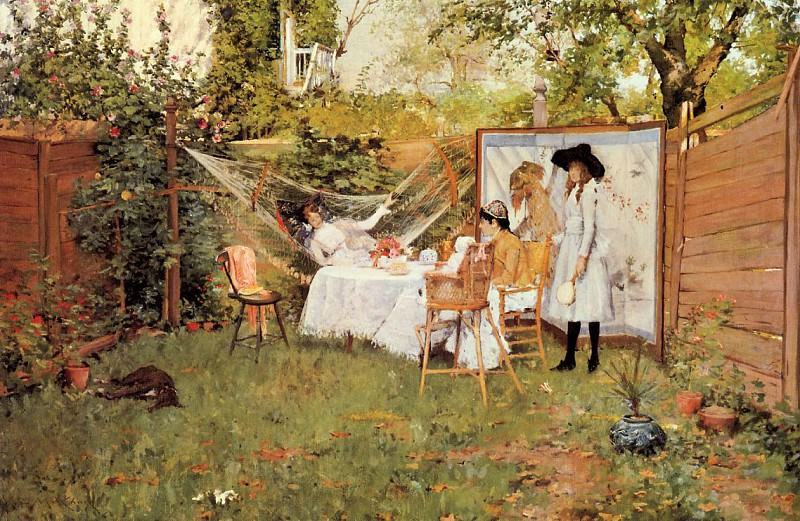 The Open Air Breakfast aka The Backyard Breakfast Out of Doors. William Merritt Chase
