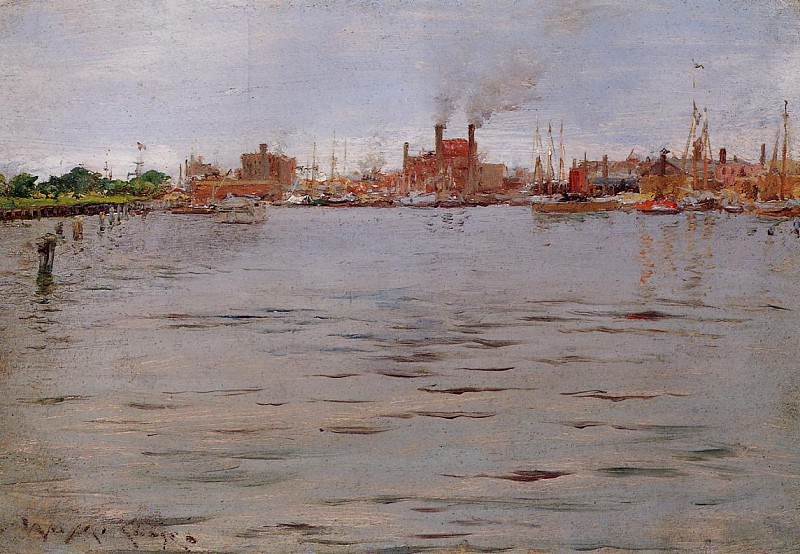 Harbor Scene Brooklyn Docks. William Merritt Chase