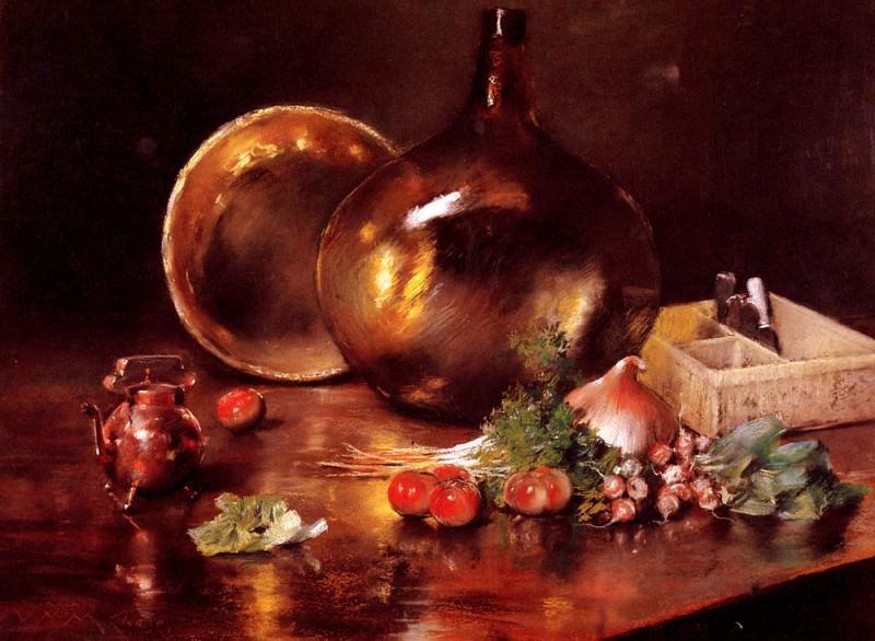 Натюрморт - латунь и стекло. Уильям Меррит Чейз