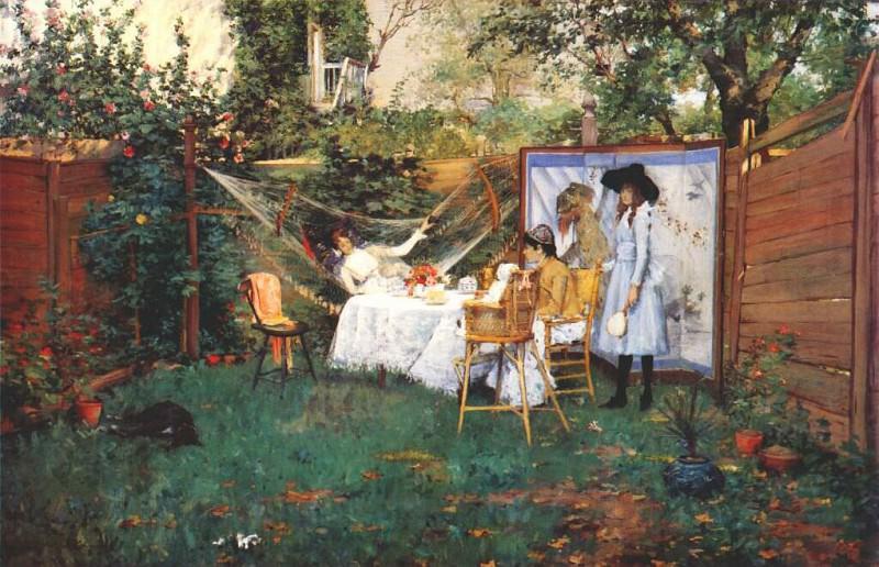 the open-air breakfast c1888. William Merritt Chase