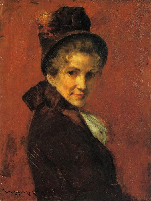 Portrait of a Woman (black bonnet). William Merritt Chase