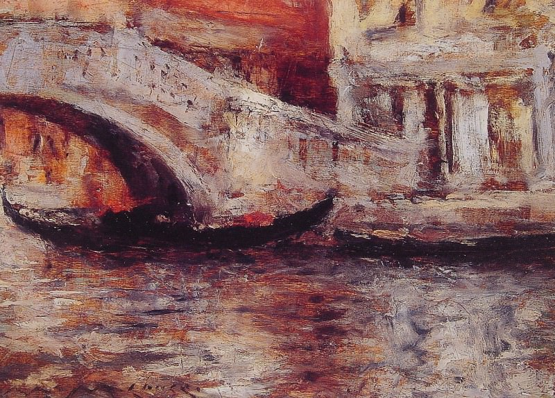 Gondolas Along Venetian Canal. William Merritt Chase