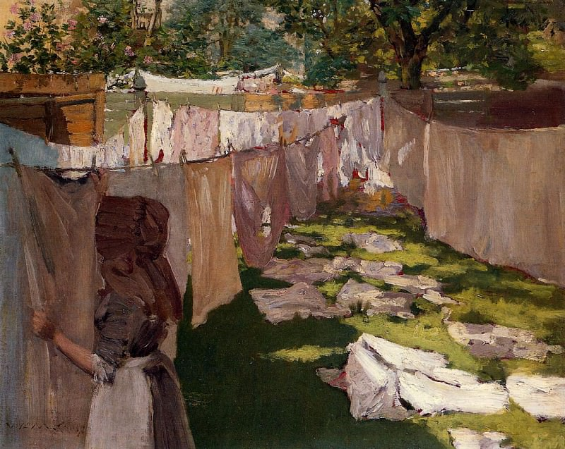 Wash Day A Back Yark Reminiscence of Brooklyn. William Merritt Chase