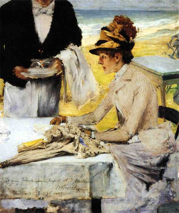 Ordering Lunch by the Seaside. William Merritt Chase