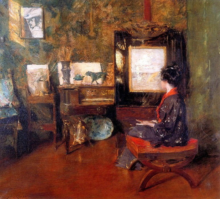 Alice in studio in Shinnecock Long Island. William Merritt Chase