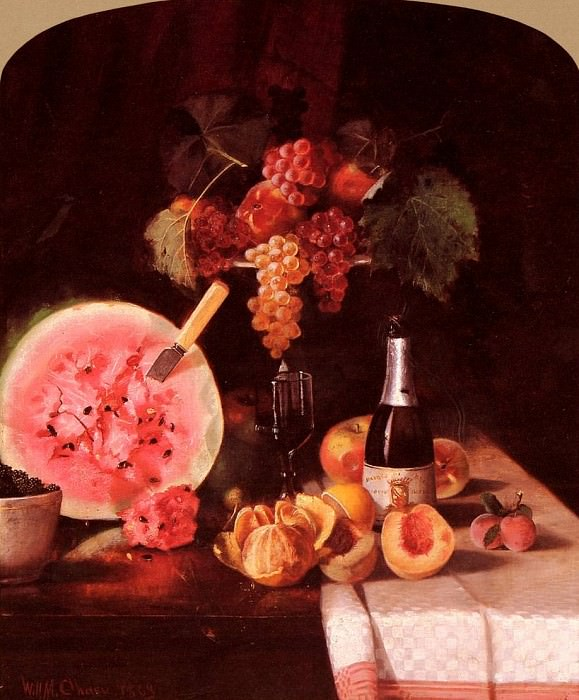 Still Life With Watermelon. William Merritt Chase