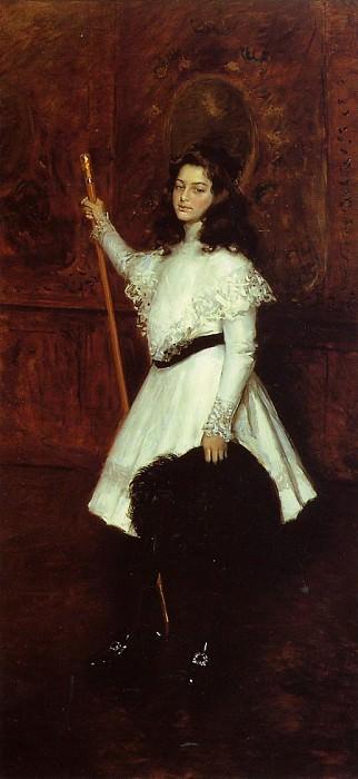 Girl in White aka Portrait of Irene Dimock. William Merritt Chase
