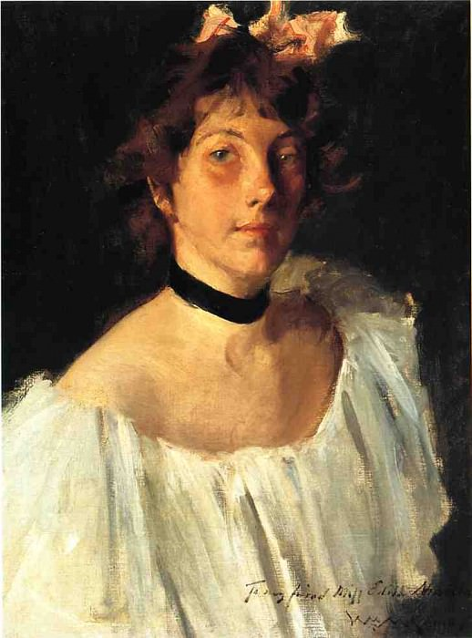 Portrait of a Lady in a White Dress aka Miss Edith Newbold. William Merritt Chase