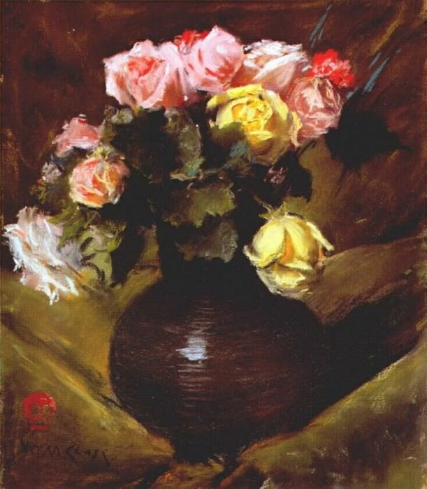 flowers (roses) c1884-8. William Merritt Chase