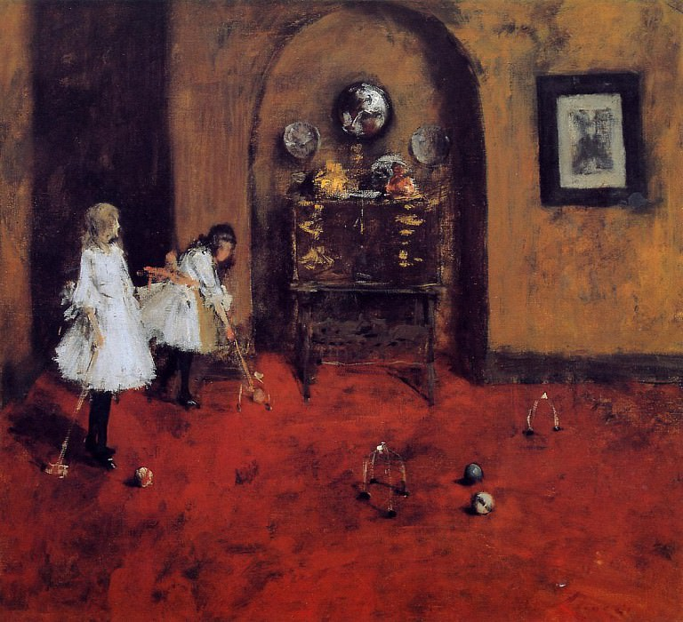 Children Playing Parlor Croquet (sketch). William Merritt Chase