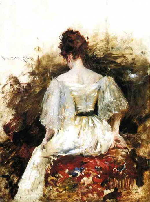 Portrait of a Woman The White Dress. William Merritt Chase