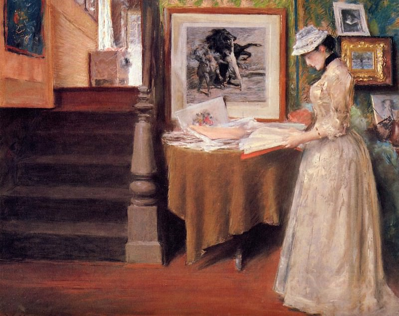 Interior Young Woman at a Table. William Merritt Chase