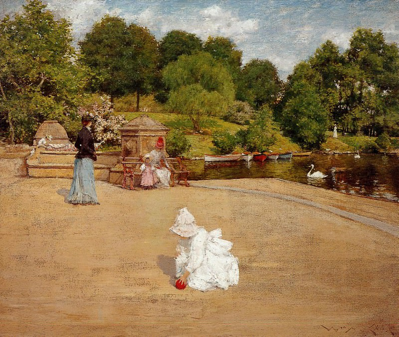 A Bit of the Terrace aka Early Morning Stroll. William Merritt Chase