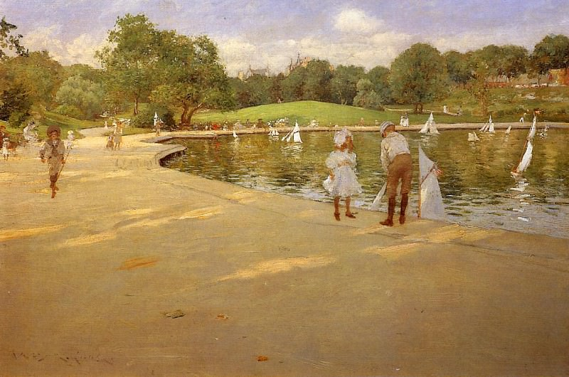 The Lake for Miniature Yachts aka Central Park. William Merritt Chase