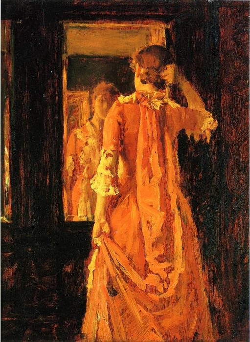 Young Woman Before a Mirror. William Merritt Chase