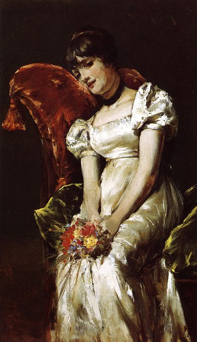 Young Girl with Flowers. William Merritt Chase