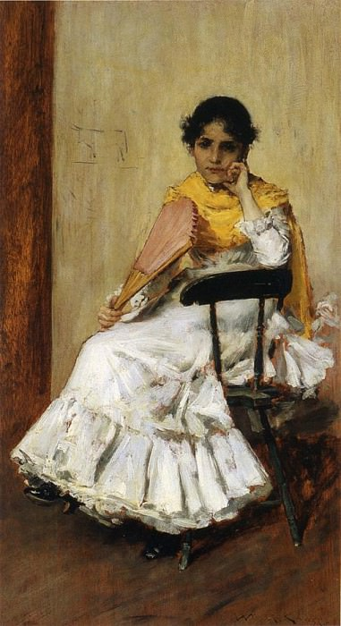 A Spanish Girl aka Portrait of Mrs. Chase in Spanish Dress. William Merritt Chase
