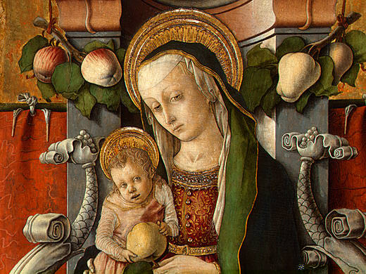 MADONNA AND CHILD ENTHRONED WITH DONOR, C. 1470, DE. Carlo Crivelli