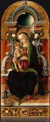 MADONNA AND CHILD ENTHRONED WITH DONOR, C. 1470, NG. Carlo Crivelli