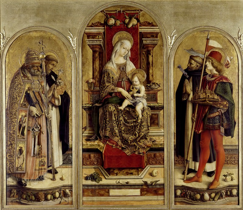 Camerino Polyptych - Virgin and Child Enthroned with St. Peter, St. Dominic, St. Peter Martyr, and St. Venanzo. Carlo Crivelli