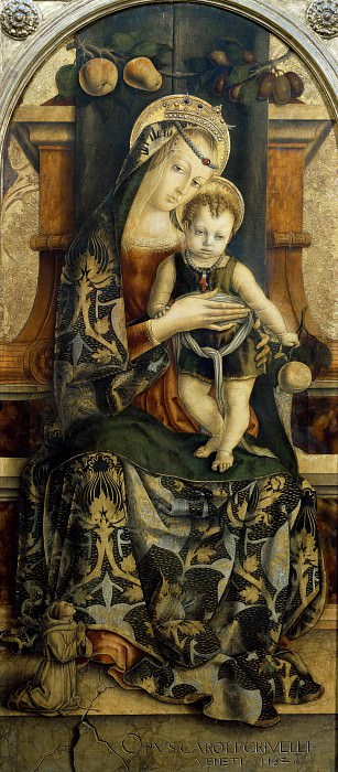 Virgin and Child Enthroned with a Franciscan in Prayer. Carlo Crivelli