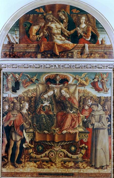 Алтарь из церкви святого Франциска, Фабриано - Коронование Девы Марии и Оплакивание Христа. Карло Кривелли
