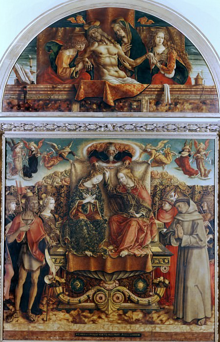 Altarpiece from San Francesco, Fabriano - Coronation of the Virgin and Lamentation of Christ. Carlo Crivelli