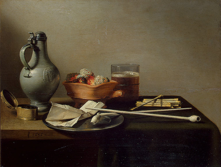 Still life with clay pipes, 1636. Pieter Claesz