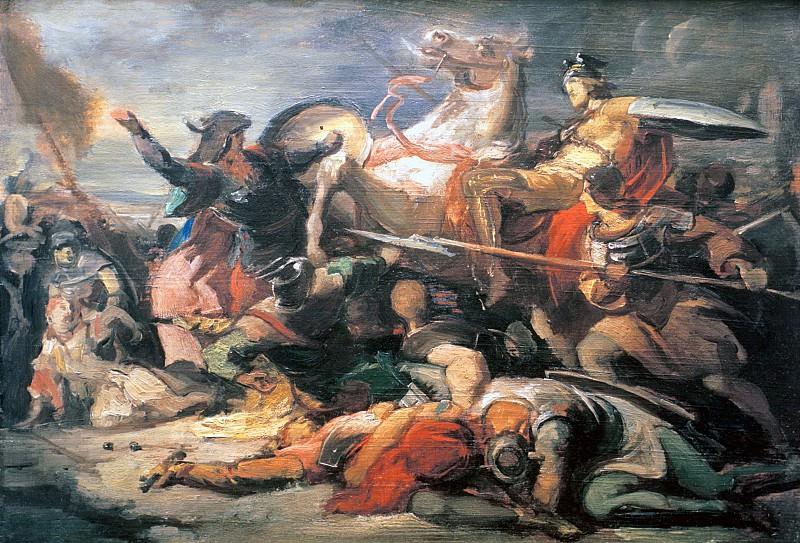 Knightly battle. Julius Schnorr von Carolsfeld