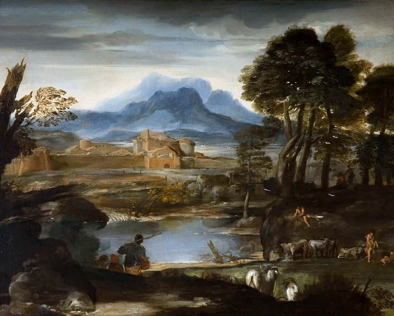 Landscape with a Lake and a Walled Town. Pietro da Cortona (Attributed)