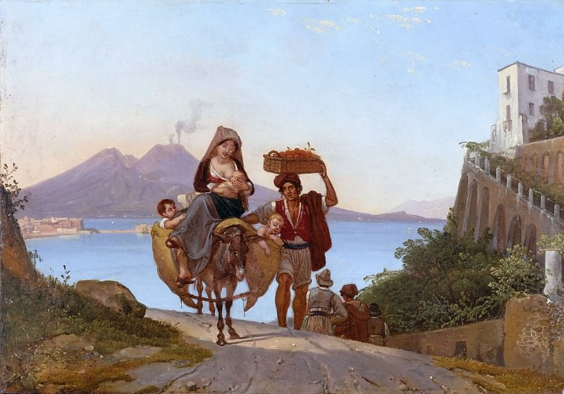 Gulf of Naples with fruit handler. Franz Ludwig Catel
