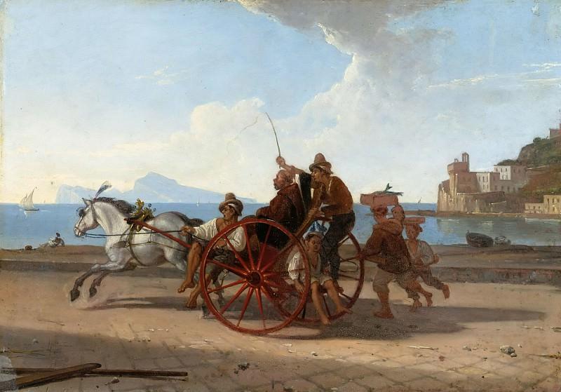 Neapolitanische Carrete mit Monch. Franz Ludwig Catel