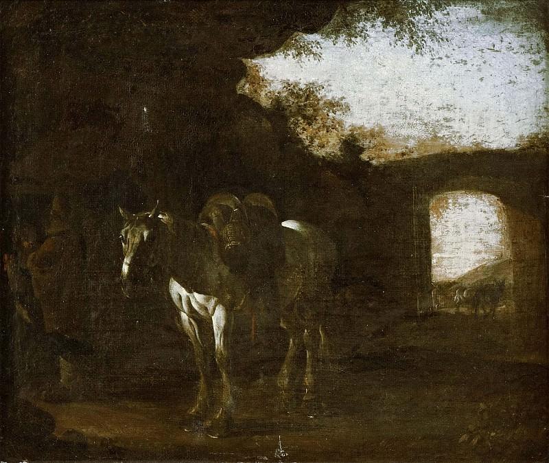 Пейзаж с руинами и седловой белой лошадью. Микеланджело Серкоцци (Приписывается)