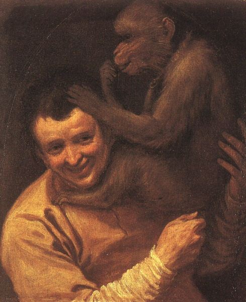 A MAN WITH A MONKEY, 1590-91, OIL ON CANVAS. Annibale Carracci