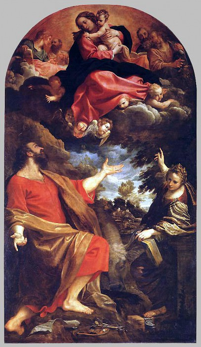 The Virgin Appears to St Luke and Catherine. Annibale Carracci