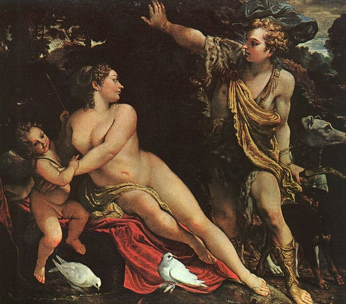 Venus, Adonis, And Cupid. Annibale Carracci