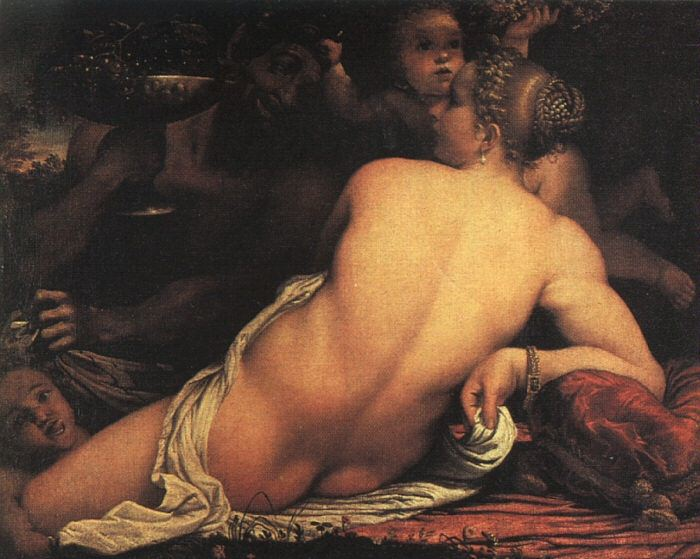 VENUS WITH SATYR AND CUPIDS, 1588, OIL ON PAPER. Annibale Carracci