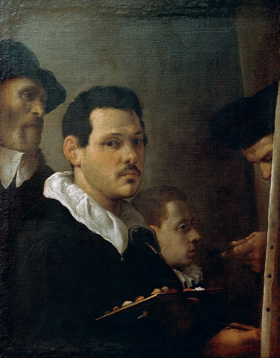 Self-portrait with three figures. Annibale Carracci