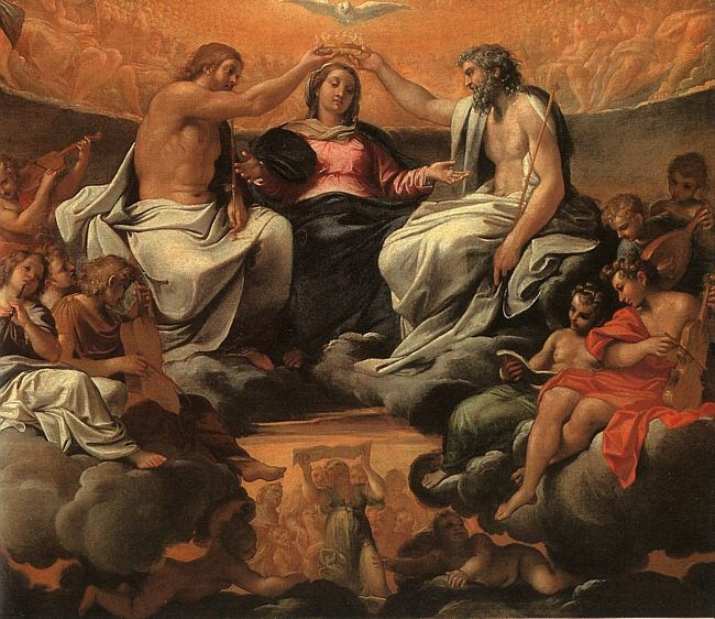 THE CORONATION OF THE VIRGIN, OIL ON CANVAS. Annibale Carracci