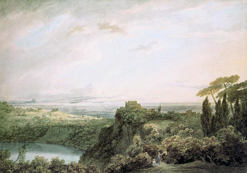 Cozens John Robert The lake of Nemi Sun. Джон Роберт Козенс