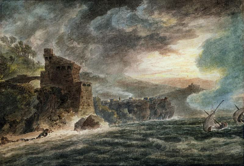 Near Cetara with Vietri and the Castle of Salerno in the distance. John Robert Cozens