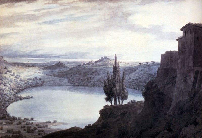 Cozens John Robert Lake Nemi Campagna Italy. Джон Роберт Козенс