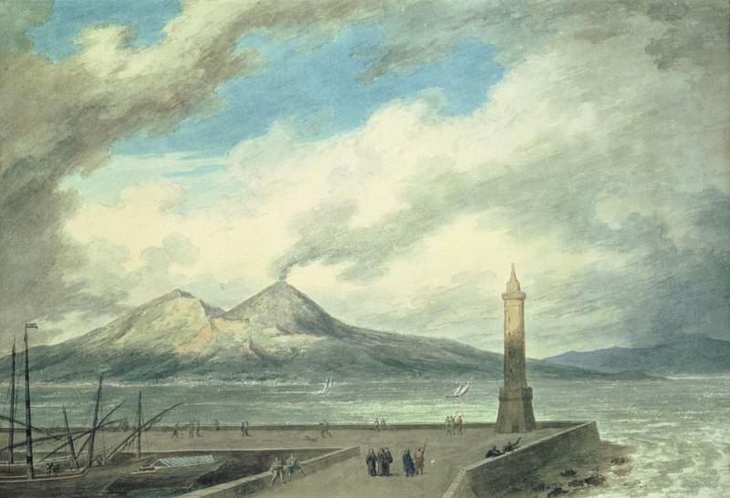 Везувий и Сомма, вид из Моль в Неаполе. Джон Роберт Козенс